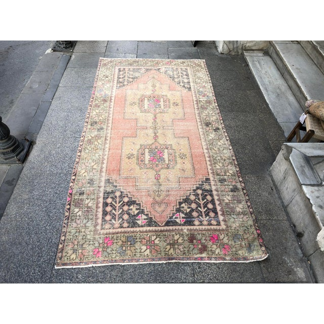 1960s Vintage Faded Turkish Tribal Rug- 4′2″ × 8′3″ For Sale - Image 11 of 11