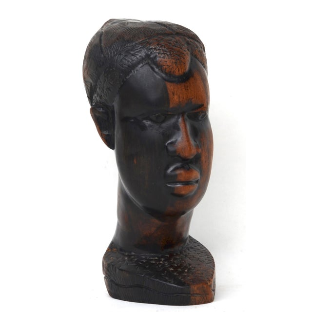Mid Century African Wood Carved Head For Sale - Image 10 of 10