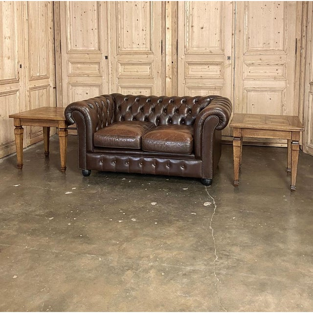 Pair Walnut Parquet End Tables feature neoclassical architecture and a grain-oriented parquet top that is both eye-...
