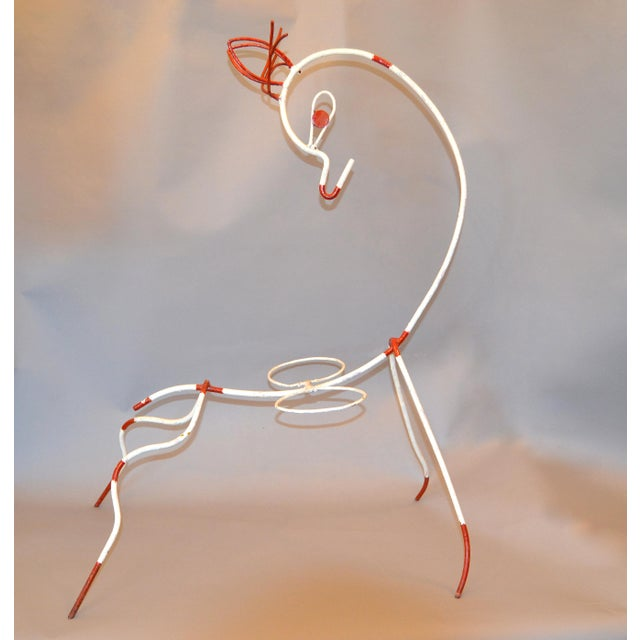 Boho Chic Frederick Weinberg Mid-Century Modern White & Red Iron Deer Sculptural Planter For Sale - Image 3 of 12