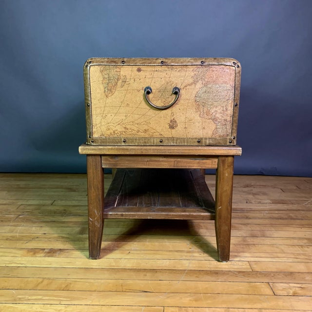 Wood Leather Travel Suitcase Storage Box on Frame, 20th Century For Sale - Image 7 of 12