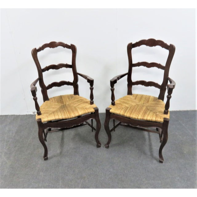 County French Mahogany Rush Seat Arm Chairs- a Pair For Sale In Philadelphia - Image 6 of 6
