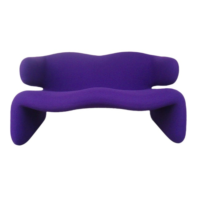 "1966 Olivier Mourgue ""Djinn"" Purple Wool Upholstered Sofa For Sale"