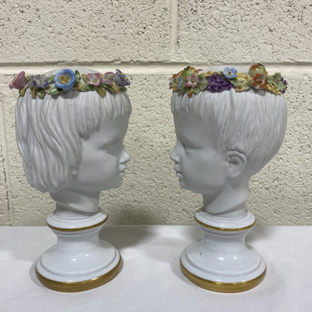 French Petite Capodimonte Porcelain Boy Girl Busts - a Pair For Sale - Image 3 of 13