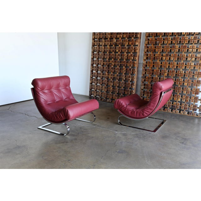 Renato Balestra Leather Lounge Chairs for Cinova Italy, Circa 1970 For Sale - Image 9 of 11