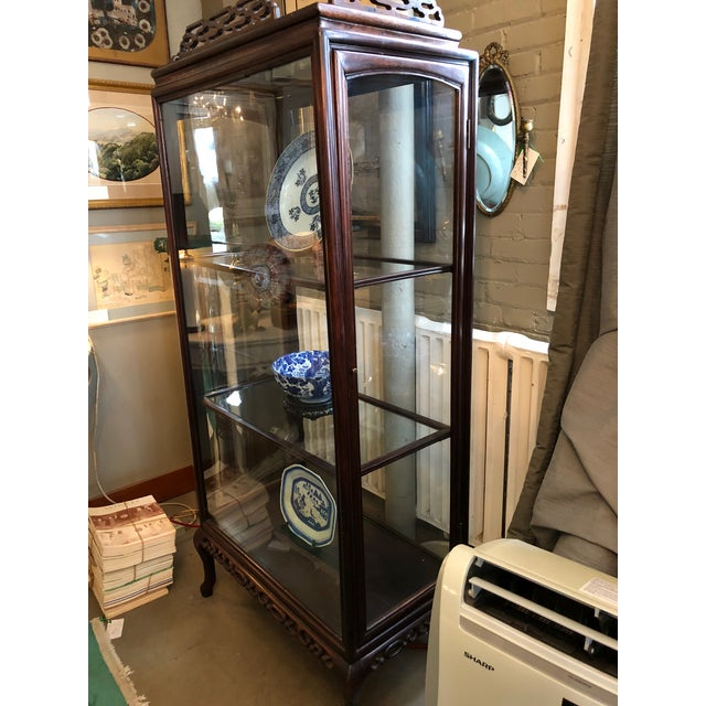 Late 19th Century 19th Century Chinese Rosewood Hand Carved 3 Shelf Curio Display Cabinet With Two Side Doors For Sale - Image 5 of 13