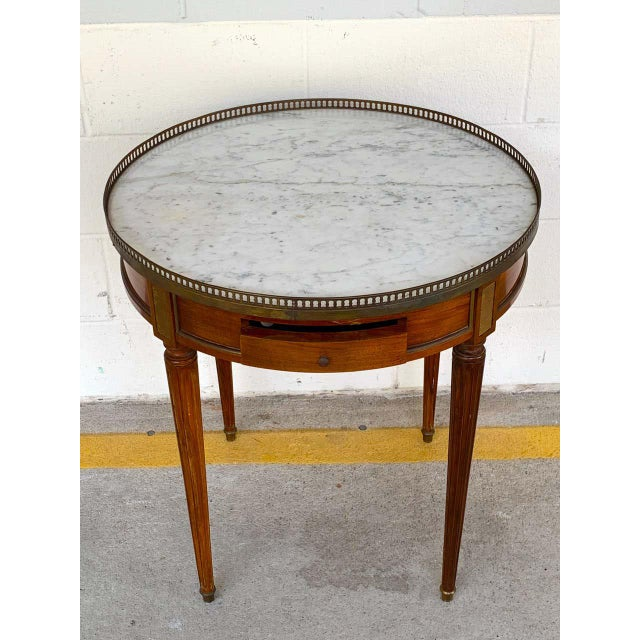 Brown Louis XVI Style Carrera Marble-Top Bouillotte Table, Stamped Made in France For Sale - Image 8 of 10