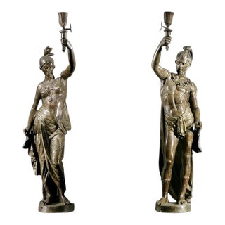 Pair of Bronze North American Indian Torchères For Sale