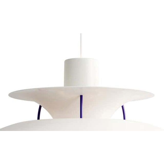 Poul Henningson 'Classic White' PH5 mini pendants for Louis Poulsen. Poul Henningsen originally introduced the full-sized...