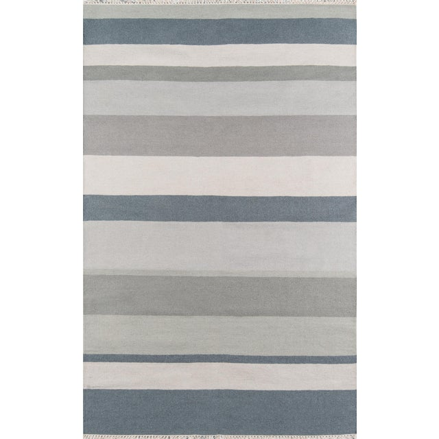 """Erin Gates Thompson Brant Point Grey Hand Woven Wool Area Rug 5' X 7'6"""" For Sale"""