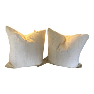 African Mud Cloth Euro Size Pillows - a Pair For Sale
