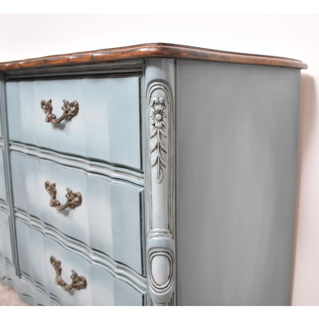 Mid 20th Century French Provincial Nine Drawer Triple Dresser For Sale - Image 5 of 13