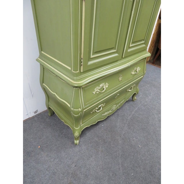 Louis XV Style Green & Cream Armoire For Sale In Philadelphia - Image 6 of 7