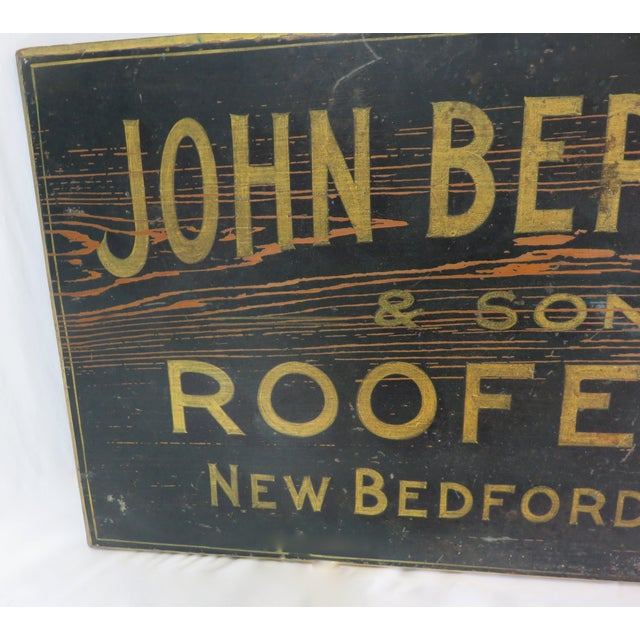 Wood Antique Wood New Bedford Mass. Roofers Sign For Sale - Image 7 of 13