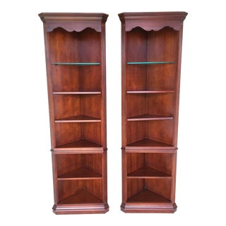Thomasville Collections Cherry Lighted Corner Wall Units - a Pair