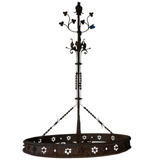 20th Century Belgian Round Cast Iron Metal Chandelier For Sale