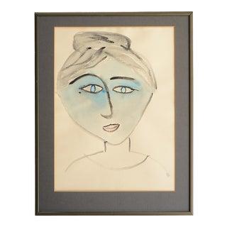 1970s Modernist Blue Lady Portrait Watercolor Painting, Framed For Sale
