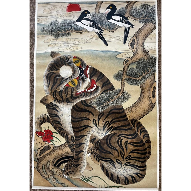 A Korean Folk Art painting mounted as a hanging scroll. The watercolor on paper was likely dated from 1930s-1940s. The...