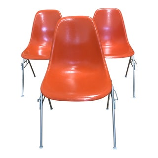 Herman Miller Eames Fiberglass + Metal Side Chairs - Set of Three For Sale