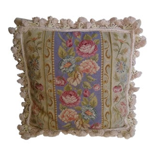 Vintage Aubusson Style Needlepoint Pillow For Sale