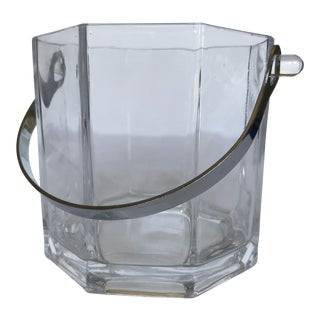 Small Geometric Crystal Ice Bucket With Chrome Handle For Sale