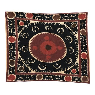 Oversized Vintage Suzani Cream, Black, Reds and Pinks Embroidered Floor / Pet Pillow