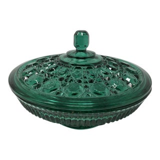 1940s Vintage Emerald Green Cut Glass Dish With Lid For Sale