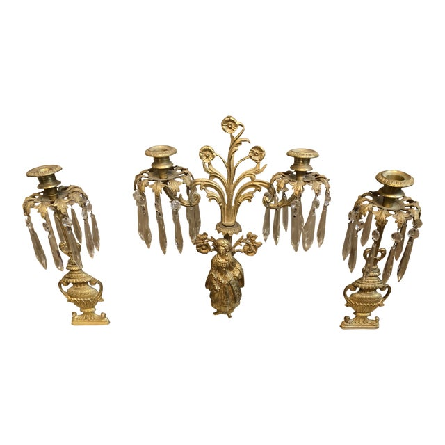 1800s Cast Brass Girandoles With Crystal Pendants - Set of 3 For Sale
