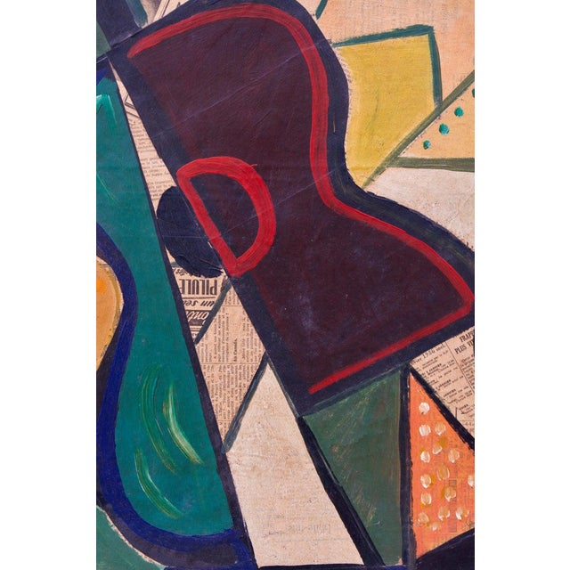 1956 Cubist Guitar Mixed Medium on Board Painting by Jean Lacoste For Sale In West Palm - Image 6 of 8