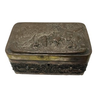 Antique Continental Repousse Silver Plate Jewelry Box For Sale