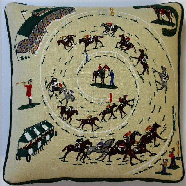 English Traditional Pair of Race Track Canvas Pillows For Sale - Image 3 of 8