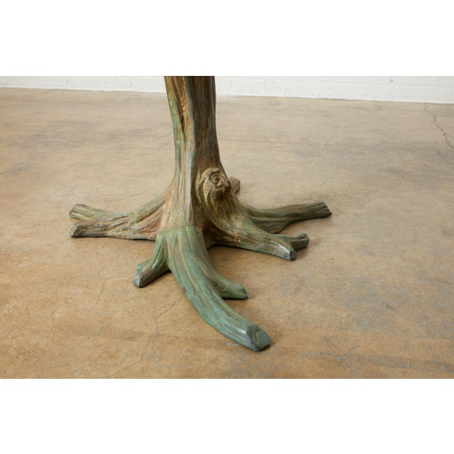 French Bronze Faux Bois Tree Sculpture Dining Table For Sale - Image 10 of 13