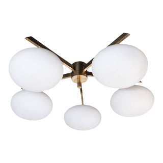 Brass and Glass Five-Arm Globe Flush Mount Chandelier For Sale