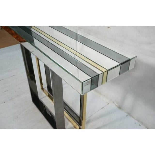 Black 1970s Mid-Century Modern Tri Color Striped Mirror Console Table For Sale - Image 8 of 9