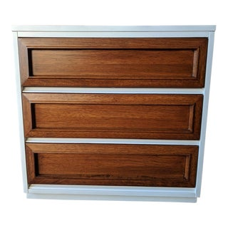 White Lacquer and Walnut 3 Drawer Dresser by Morris of California