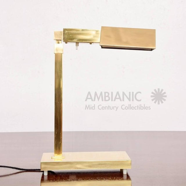 Gold Mid-Century Modern Brass Table Desk Lamp For Sale - Image 8 of 9