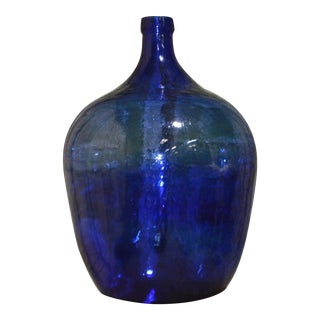 1900s Antique Blue Demijohn Bottle For Sale