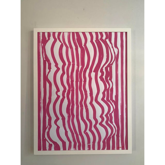 Contemporary Painting by Duncan McDaniel that depicts bold pink lines wrapping around an abstract form.