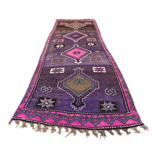 1960s Vintage Turkish Caucasian Handmade Colorful Runner- 4′ × 12′ For Sale