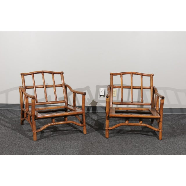 Mid-Century Modern Beautiful Restored Pair of Pagoda Style Loungers by Ficks Reed, circa 1970 For Sale - Image 3 of 13
