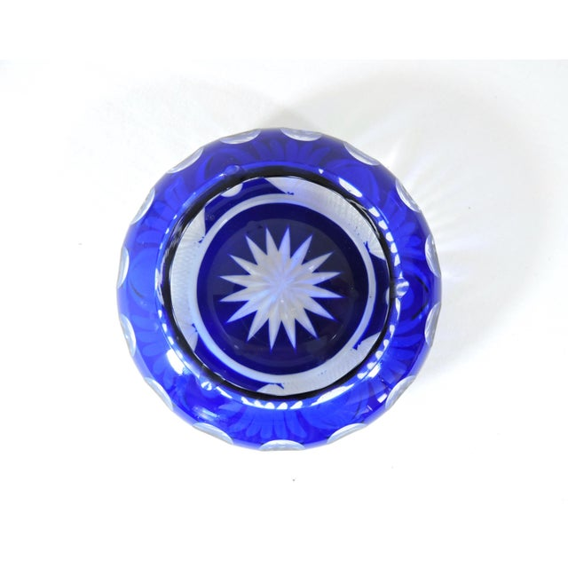 Boho Chic Antique English Late Victorian Cut-To-Clear Blue Glass Moon & Stars Ashtray For Sale - Image 3 of 5