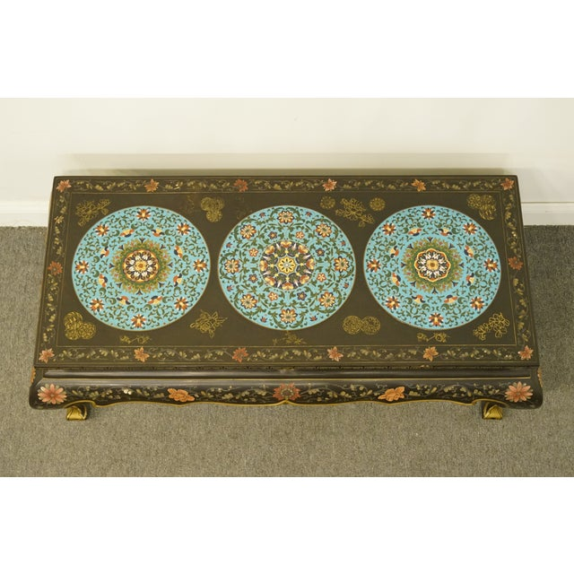 Late 20th Century High End Asian Chinoiserie Black Accent Coffee Table For Sale - Image 4 of 9