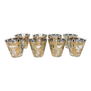 Mid Mod Set of 8 Gold Designed Nature Themed Glassware For Sale