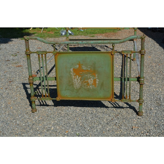 Metal 1800's Antique European Cast Iron Steel Green Shabby Chic Scenic 3/4 Bed Frame For Sale - Image 7 of 13