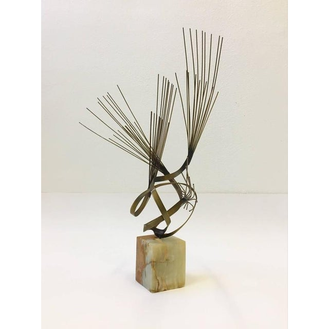 Mid-Century Modern Gilded Steel and Onyx Tabletop Sculpture by Curtis Jeré For Sale - Image 3 of 9