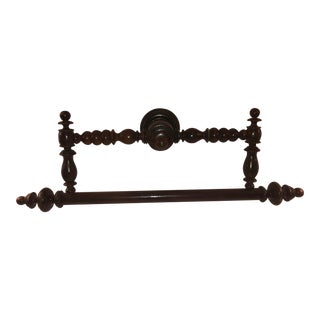 19th C French Walnut Hanging Towel Bar For Sale
