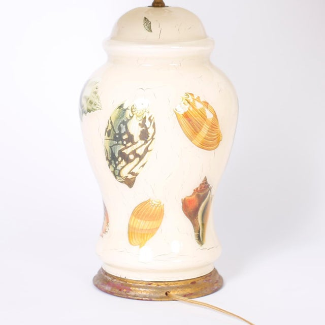 Cream Decoupage Sea Shell Table Lamps - A Pair For Sale - Image 8 of 9