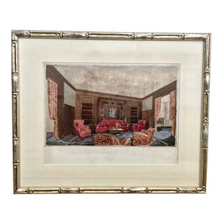 1940s French Interior Design Firm Watercolor Painting, Framed For Sale