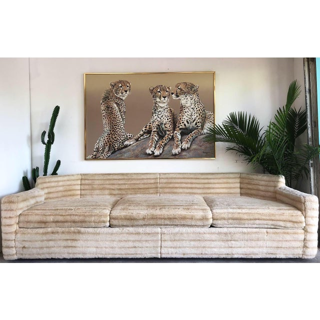 Mid-Century Modern 1960s Vintage Howard Parlor Faux Fur Sofa For Sale - Image 3 of 5