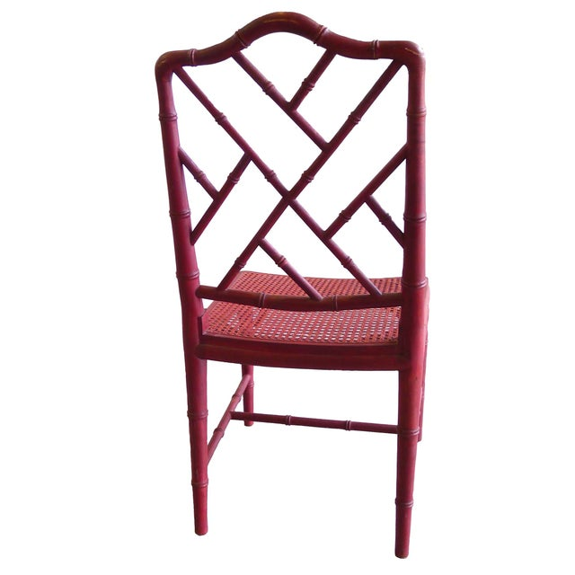 1960s Red Chinoiserie Bamboo-Style Chair - Image 3 of 7